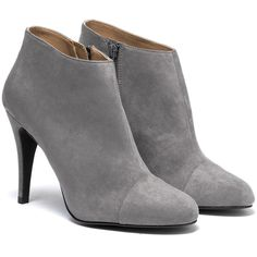 Chamois leather ankle boots ($86) ❤ liked on Polyvore featuring shoes, boots, ankle booties, heels, booties, footwear, short boots, heel boots, heeled ankle booties and heeled booties