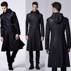 Men Black Double Breasted Hooded Medieval Gothic Military Trench Coat SKU-11401815