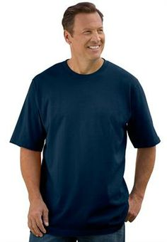 Big and Tall Heavyweight Crewneck Cotton Tee Shirt with Pocket image