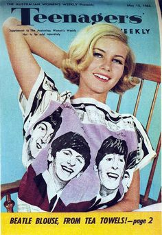 Model wearing a Beatle blouse made from a tea towel, Teenagers' Weekly (May 13, 1964)