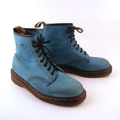 Another beautiful pair of early '90s Doc Martens boots...love the soft blue color! (purevintageclothing on etsy)