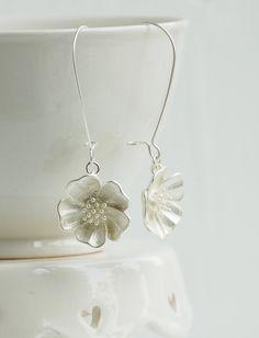 Silver Flower Earrings Silver Earrings Nature Modern Bridal
