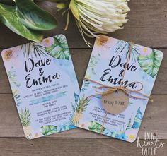 Wedding engagement invitation stationery modern classy professional handwritten Hawaii tropical floral watercolour watercolor fun boho