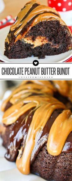 Chocolate Peanut Butter Bundt Cake Recipe.