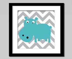 Nursery art elephant hippo owl bird  wall art by babiesartroom, €7.00