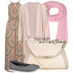 Hijab Outfit by Nuriyah O. Martinez      Accessorize cocktail dress €40 - accessorize.com   Dolce Gabbana long pink cardigan €275 - profilefashion.com   McQ by Alexander McQueen gray suede flat €170 - forzieri.com   Color block purse €8,31 - newlook.com   Stefanel cashmere shawl €135 - yoox.com