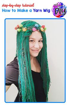 Family Costumes, Diy Costumes, Costume Ideas, Halloween Costumes, Rapunzel Wig, Witch Hair, Yarn Wig, Diy Wig, Green Wig