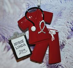 FREE Ornament Gift Bag - Personalized Doctor Physician Nurse Maroon Scrubs Christmas Ornament FREE Ornament Gift Bag