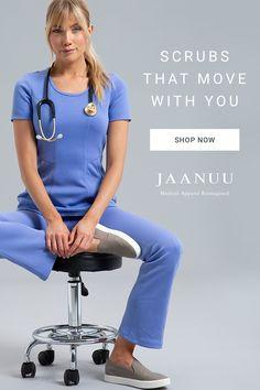 Modern Scrubs and Lab Coats for Men and Women by Jaanuu Medical Careers, Medical Uniforms, Cute Scrubs, Medical Scrubs, Nursing Scrubs, Work Hairstyles, Scrub Pants, Work Wardrobe, Work Fashion