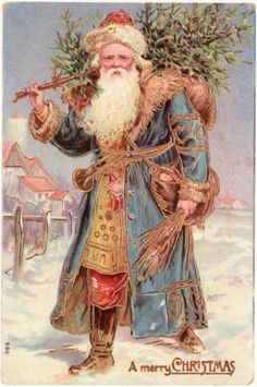 "Vintage illustrated Christmas postcard with Santa carrying a Christmas tree ""A merry CHRISTMAS"". Previous pinner said Victorian era..."