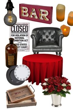 1920s Speakeasy Decor ideas. Find more inspiration for a Speakeasy party theme at http://sparklerparties.com/speakeasy/