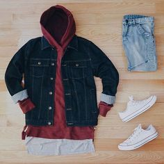 Outfit grid - Denim and layers Outfits With Converse, Dope Outfits, Swag Outfits, New Outfits, Casual Outfits, Fashion Outfits, Converse Chuck, Style Streetwear, Streetwear Fashion