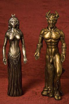 Magickal Ritual Sacred Tools: Goddess and God altar statues.