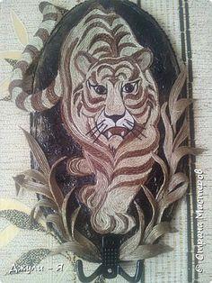 Картина панно рисунок Мастер-класс Аппликация Филигранная ключница- Тигр  МК Шпагат фото 27