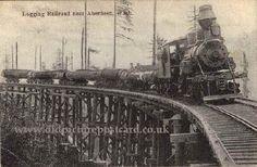 Steam train with log filled Wagons, Washington, USA, 1908