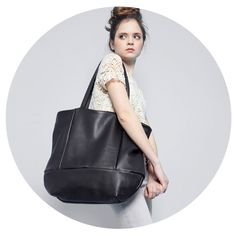 Large leather tote bag OPELLE Meridan tote in by opellecreative