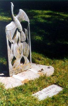 Phoenix rising from flames. Beautiful gravestone of May Sarton.