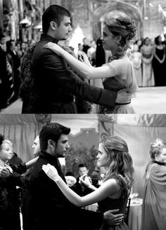 Hermione and Viktor dancing in year 4 at the Yule ball and year 7 at Bill and Fleur's wedding.