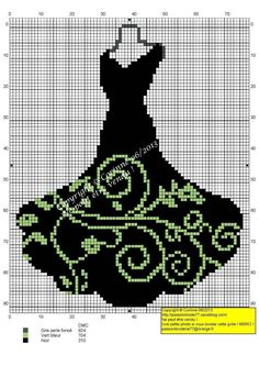 Black dress pattern / chart for cross stitch, crochet, knitting, knotting… Cross Stitch Silhouette, Cross Stitch Fabric, Counted Cross Stitch Patterns, Cross Stitch Designs, Cross Stitching, Cross Stitch Embroidery, Hand Embroidery, Loom Patterns, Beading Patterns