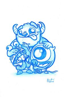 Blue Doodle #1: Monsters Inc! | Flickr - Photo Sharing!