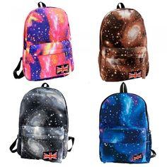 5efca7f970c4 Fashion Galaxy Print Cosmic Large Space Canvas Backpack blau Online Shopping
