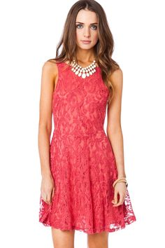 ShopSosie Style : Lace Dream Skater Dress in Spanish Red  MADE IN USA!!! :)