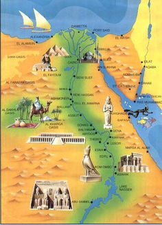 Traveled down the Nile From Alexandria to Sharm El Sheikh, to Cairo then South to Luxor and Aswan and Abu Simbel Ancient Egypt, Ancient History, Art History, Egypt Map, Luxor Egypt, Tourist Map, Nile River, Egypt Travel, Thinking Day