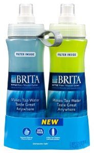 Brita 20-Ounce Bottle With Filter, Twin Pack, Blue and Green. This is great for using at the gym!