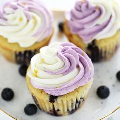 Lemon Blueberry Cupcakes are perfectly tender and moist with tons of fresh lemon and blueberry flavors, plus an easy swirled buttercream effect.