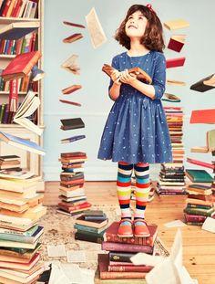 NWT Mini Boden Roald Dahl Girl Blue Matilda Alphabet Dress 6 7 w/ Striped Tights Mini Boden, Roald Dahl Characters, Roald Dahl Stories, Matilda Costume, Little Ones, Little Girls, Matilda Roald Dahl, Foto Still, Alphabet