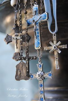 Hanging Crosses by Christine Wallace--this would be cool as a collection display