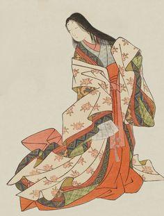 Ono no Komachi. Ukiyo-e woodblock print. About 1766, Japan, by artist Suzuki Harunobu.
