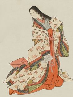 Ono no Komachi. Ukiyo-e woodblock print.About 1766,Japan, by artist Suzuki Harunobu.