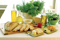 Herbal butters and oils recipes--including no-knead French bread recipe