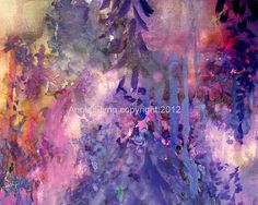 "Archival Print of original watercolor ""Wisteria Cantata in Violet"""
