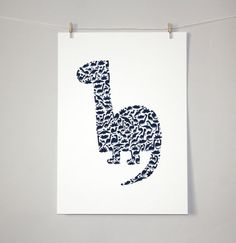 Dinosaur pattern drawing, limited edition print, nursery decor, kids decor