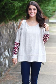 Cold Shoulder Sequin Sleeve Sweater {Oatmeal} - The Fair Lady Boutique - 1