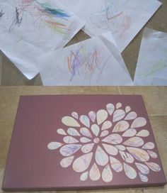 Toddler Scribble Art - this is genius. Have Bryson make scribble art and create something like this flower Kids Crafts, Cute Crafts, Toddler Crafts, Crafts To Do, Projects For Kids, Craft Projects, Arts And Crafts, Craft Ideas, Project Ideas