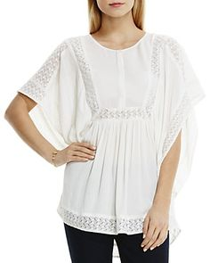 Two by VINCE CAMUTO Lace Inset Crinkle Gauze Blouse | Bloomingdale's, $89