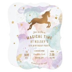 Pastel Unicorn Birthday Party Invitation