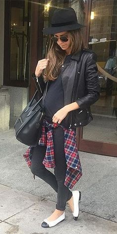 Tie a plaid shirt around your waist for a flattering look.