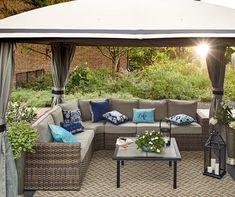 Broyhill Eagle Brooke Soft Top Gazebo, x - Big Lots Resin Patio Furniture, Diy Garden Furniture, Sectional Patio Furniture, Best Outdoor Furniture, Furniture Design, Patio Seating, Outdoor Living, Outdoor Decor, Outdoor Areas