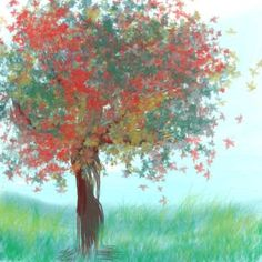 Learning how to use the brushes in Lesson 2.  Here's my watercolor-looking Autumn tree! :)