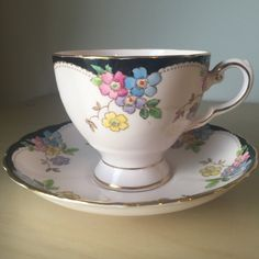 Tuscan Light Pink & Black Vintage Teacup and Saucer, Hand Painted Purple Blue Yellow Flower Tea Cup Duo, English Floral Bone China by…