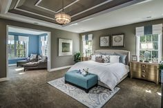Contemporary Master Bedroom with Coast to Coast Imports - 3 Drawer Chest, Crown molding, Chandelier, Carpet