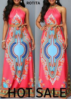 Belted Dashiki Print Sleeveless Maxi Dress,Do you like this series maxi dress,it's quite differrent style, I'm strongly recommand it,shoop now. African Attire, African Wear, African Dress, African Fashion, African Outfits, African Clothes, African Style, Kente Styles, Trendy Clothes For Women