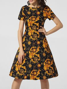 Boat Neck Printed Skater Dress Only $26.95 USD More info...