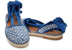 Toms Women's Blue Woven Diamond Bella Espadrille US 7.5, 8 NWB #TOMS #Strappy #Casual