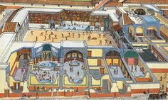 cross-section of the baths at Pompeii by Marc Henniquiau