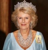 H.R.H. DUCHESS OF CORNWALL. Wearing the Boucheron Tiara and Cartier necklace set with Marie Antoinette's diamonds, left to the late H.M. Queen Mother by Nazi sympathizer the Hon. Mrs. Ronnie Greville. Grandmother Oedipus Princeps.